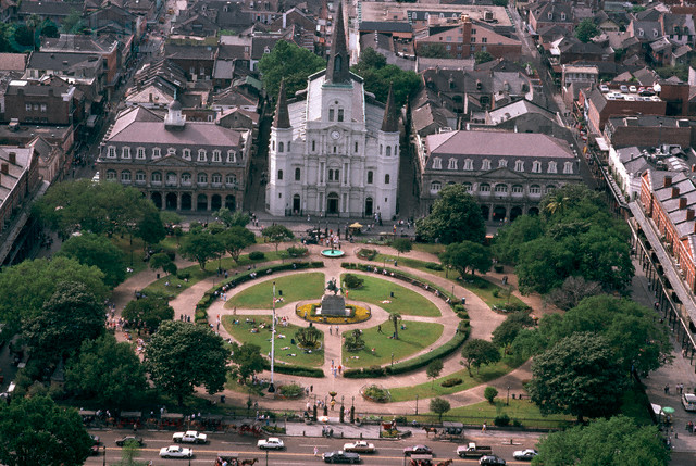 Aerial View of Jackson Square in New Orleans